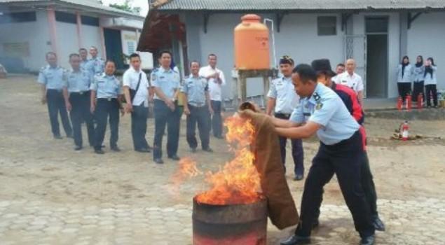 Rupbasan Palembang Gelar Pelatihan Penanggulangan Kebakaran
