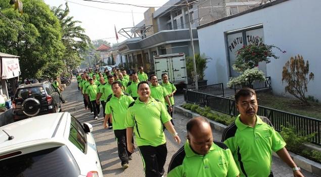 Jaga Kekompakan, Pegawai Rutan Surabaya Lari Pagi Bersama