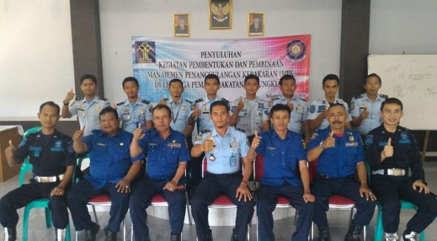 Regu Pengamanan Lapas Warungkiara Ikuti Pelatihan Manajemen Damkar