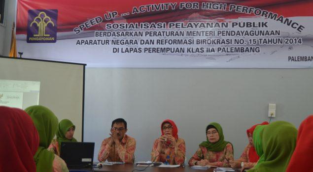 Lapas Wanita Palembang Sempurnakan SOP Pelayanan Publik