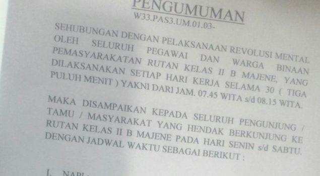 Di Sulbar, Petugas Pemasyarakatan Tafakur 30 Menit Setiap Hari untuk Hindari Pungli