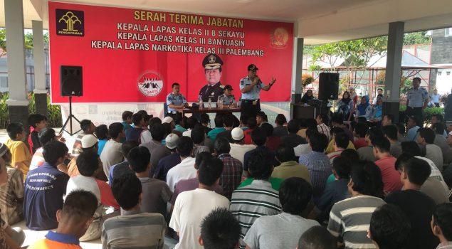 Ratusan WBP Berkumpul di Lapangan Lapas Narkotika Palembang, Ada Apa?