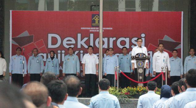 Menkumham Ajak Jajaran Kemenkumham Deklarasikan Janji Kinerja 2018