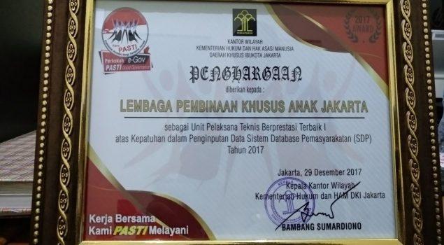 LPKA Jakarta Raih 2 Penghargaan Kategori SDP & Anggaran