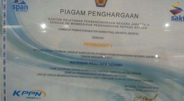 Lapas Narkotika Jakarta Jadi Satker Terbaik Lingkup KPPN Jakarta V