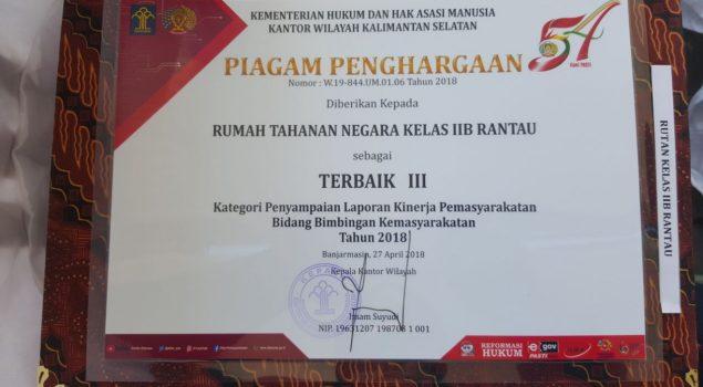 Rutan Rantau Raih Dua Penghargaan dari Kanwil Kalsel