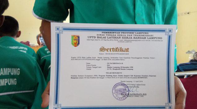 Rampungkan Pelatihan Kerja, Anak LPKA Lampung Dapat Sertifikat