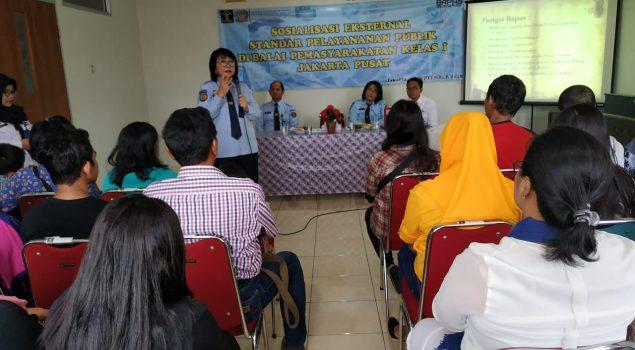 Bapas Jakarta Pusat Gelar Sosialisasi Eksternal Standar Pelayanan Publik