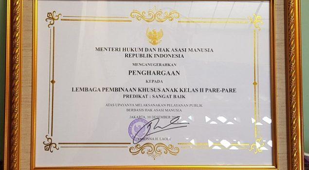 LPKA Parepare Raih Penghargaan UPT Berbasis HAM
