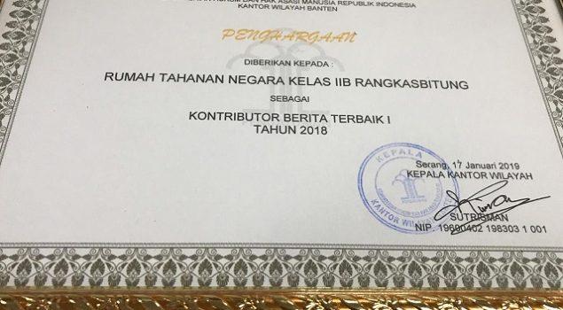 Rutan Rangkasbitung Sabet Kontributor Terbaik I Kanwil Banten