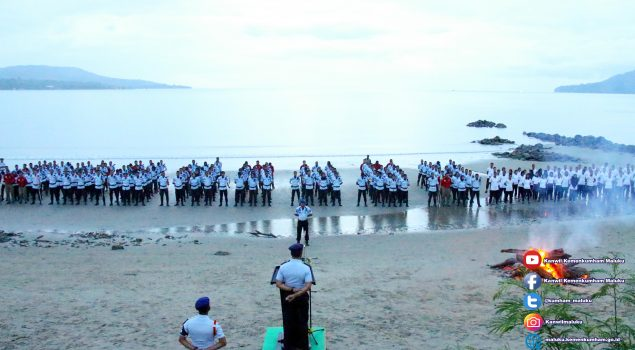 194 ASN Kanwil Kemenkumaham Maluku Ikuti Tradisi Pembaretan