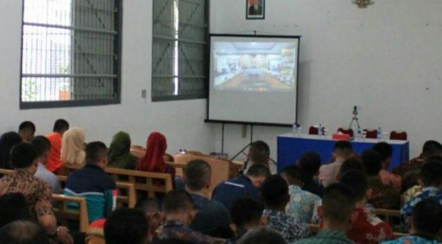 Kadiv PAS Jabar Ikuti Teleconference dengan Dirjen PAS Bersama Jajaran Rutan Bandung