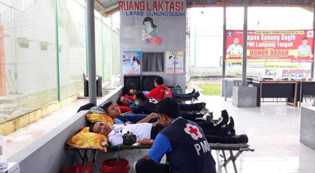 Peduli Sesama,  Lapas Gunung Sugih Laksanakan Kegiatan Donor Darah