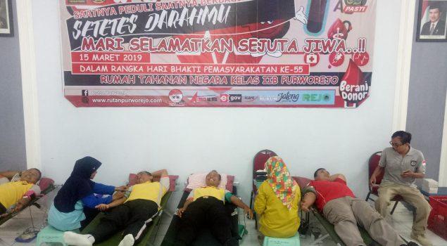 Kegiatan donor darah dalam rangka Hari Bhakti Pemasyarakatan ke 55 Rutan Purworejo