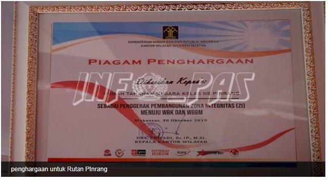 Rutan Pinrang Raih Penghargaan Penggerak Pembangunan ZI WBK/WBBM