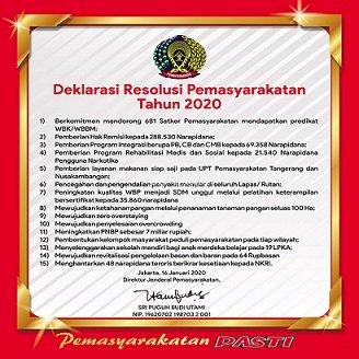 Galeri: UPT Pemasyarakatan Saksikan Deklarasi Resolusi Pemasyarakatan Tahun 2020