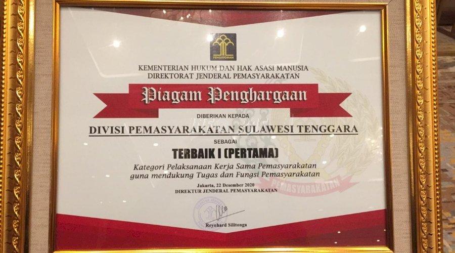 Divpas Sultra, Terbaik I Kategori Penyelenggaraan Kerja Sama Pemasyarakatan