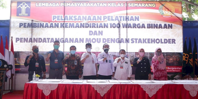 Lapas Semarang Buka Pelatihan Kemandirian &  Teken MoU Kerja Sama